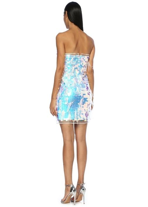 Mavi Beyaz Straplez Payetli Tüylü Mini Elbise
