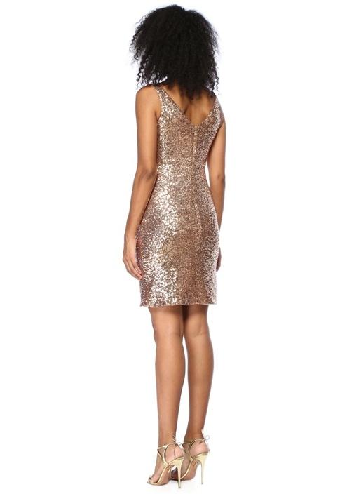Katy Gold Pullu Payetli Mini Elbise