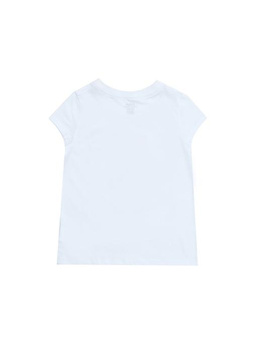 Beyaz Ayıcık Baskılı Kız Çocuk Basic T-shirt