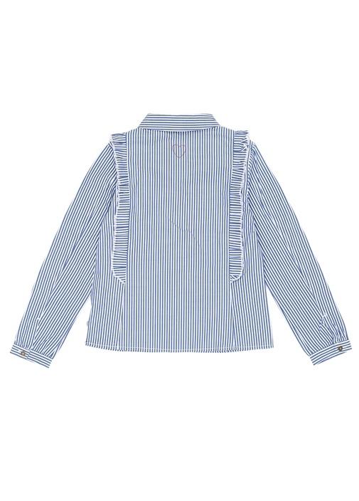 Mavi Beyaz İngiliz Yaka Çizgili Kız Çocuk Gömlek