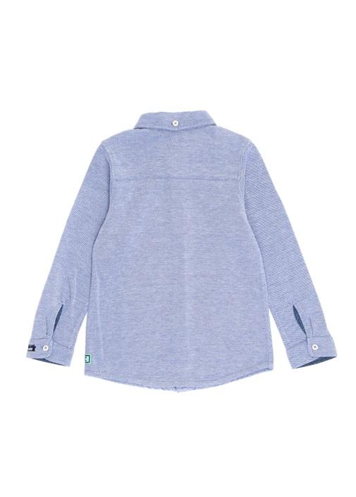 Mavi Pike Dokulu Klasik Erkek Çocuk Gömlek