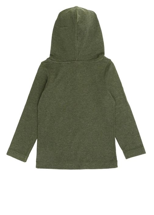 Yeşil Kapüşonlu Cepli Erkek Çocuk Sweatshirt