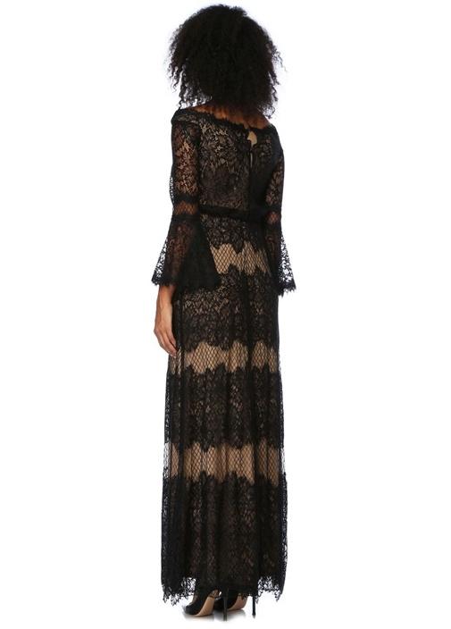 Siyah Kayık Yaka Dantel İşlemeli Maksi Elbise