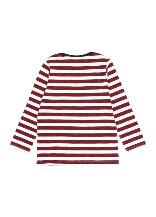 Bordo Çizgili Uzun Kol Erkek Çocuk T-shirt