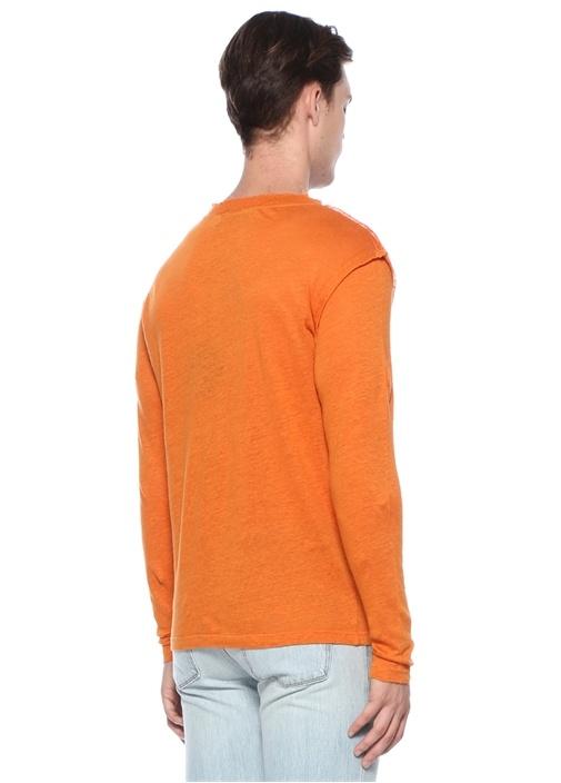 Turuncu Bisiklet Yaka Uzun Kollu Keten T-shirt