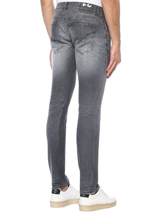Skinny Fit Gri Yıpratmalı Jean Pantolon