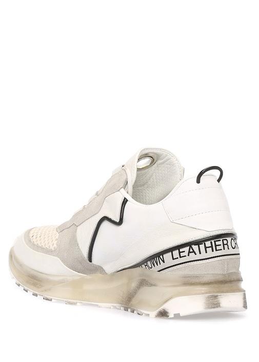 Beyaz Taban Detaylı Fileli Erkek Deri Sneaker