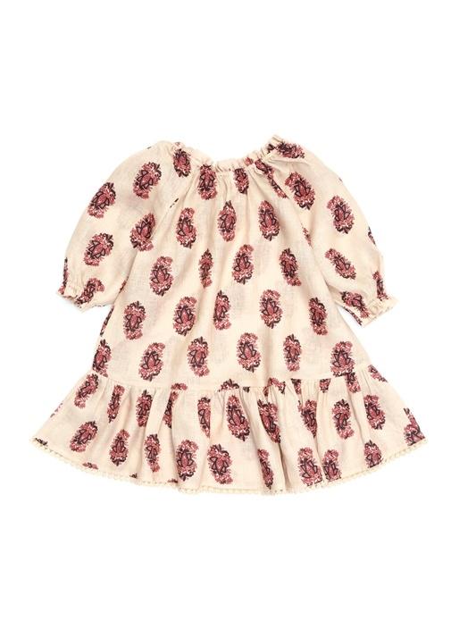 Jaya Krem Kayık Yaka Desenli Kız Çocuk Elbise