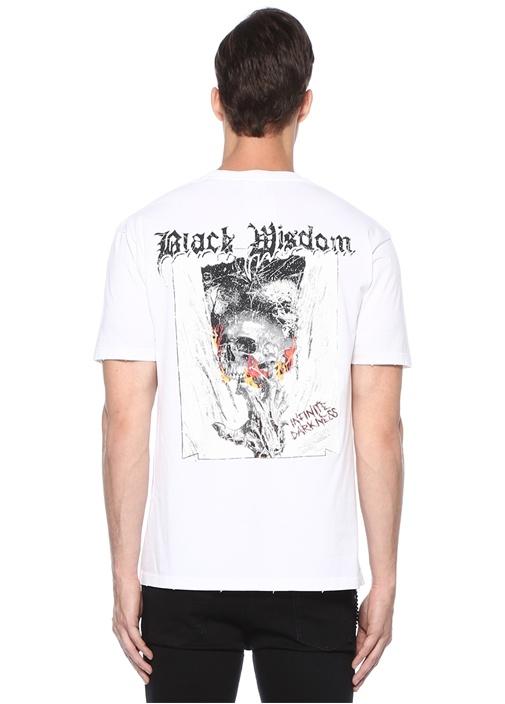 Relaxed Fit Beyaz Bisiklet Yaka BaskılıT-shirt