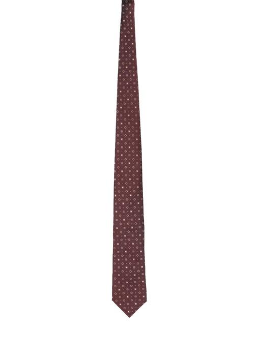 Kahverengi Geometrik Desenli İpek Kravat