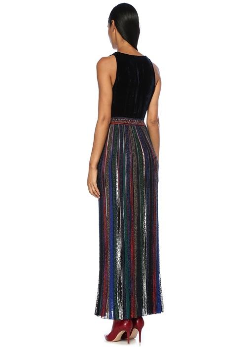 Lacivert Kadife Detaylı Simli Çizgili Maksi Elbise