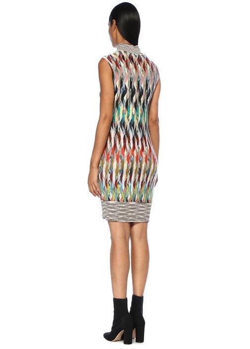Balıkçı Yaka Geometrik Desenli Midi Triko Elbise