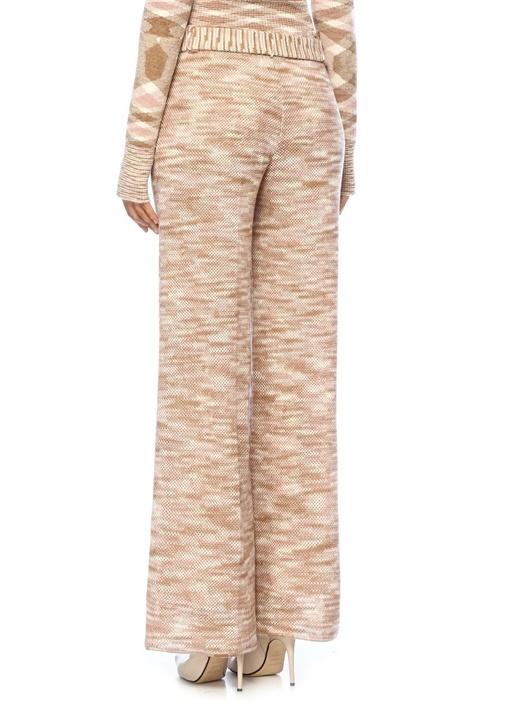 Bej Pembe Yüksek Bel Kuşaklı Yün Pantolon