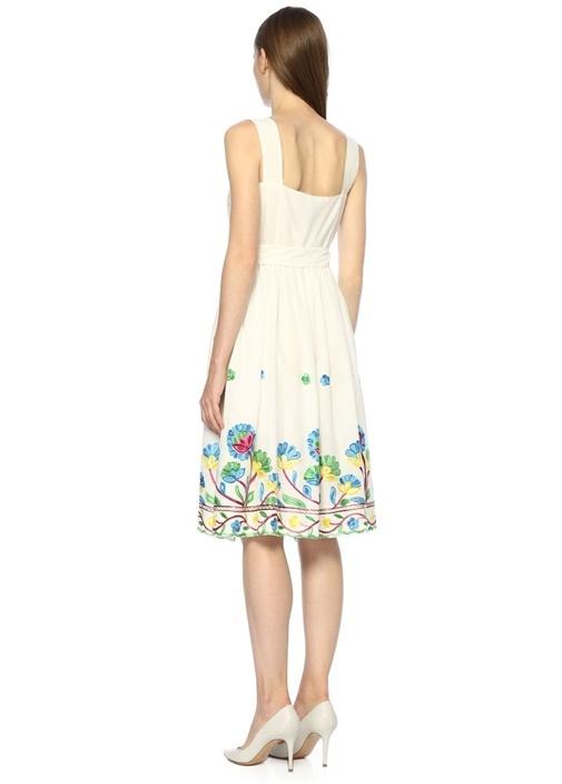 Beyaz Kare Yaka Çiçek Nakışlı Midi Elbise