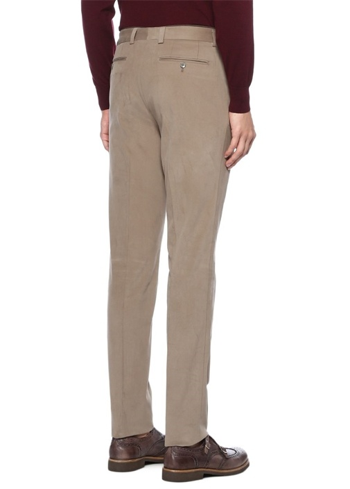 Bej Normal Bel Dar Paça Dokulu Pantolon