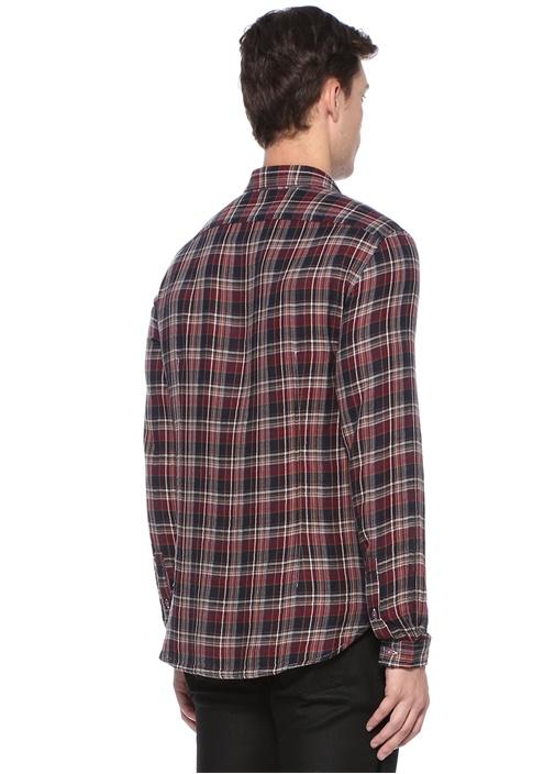 Lacivert İngiliz Yaka Ekose Desenli Gömlek