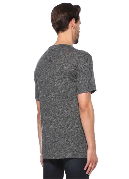 Gri Melanj Gül Baskılı Düşük Kol Keten T-shirt