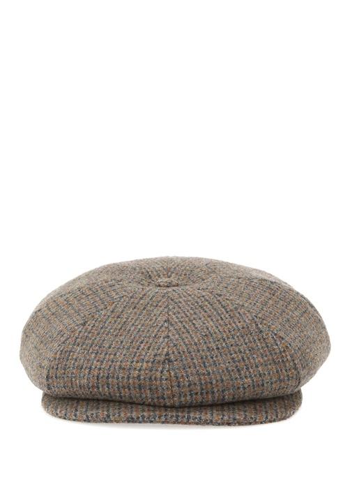 Gri Turuncu Dokulu Erkek Yün Şapka