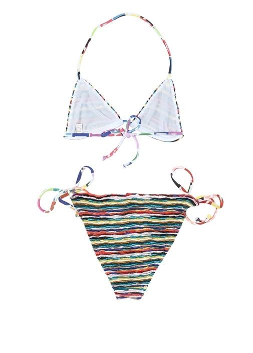 Mavi Çizgi Desenli Kız Çocuk Bikini Takımı