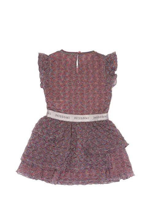 Pembe Simli Fırfır Detaylı Kız Çocuk Elbise