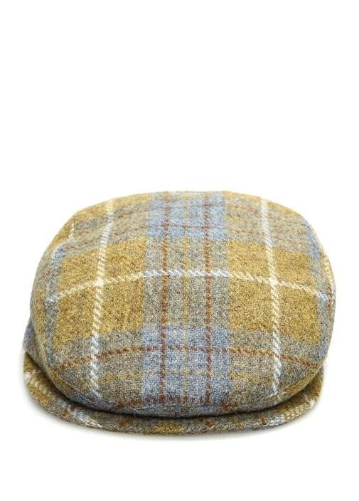 Sarı Ekose Desenli Erkek Yün Şapka