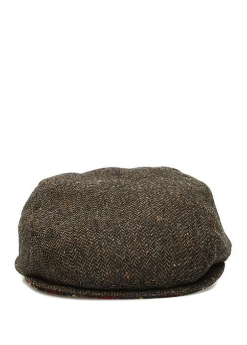 Kahverengi Balıksırtı Desenli Erkek Kasket Şapka