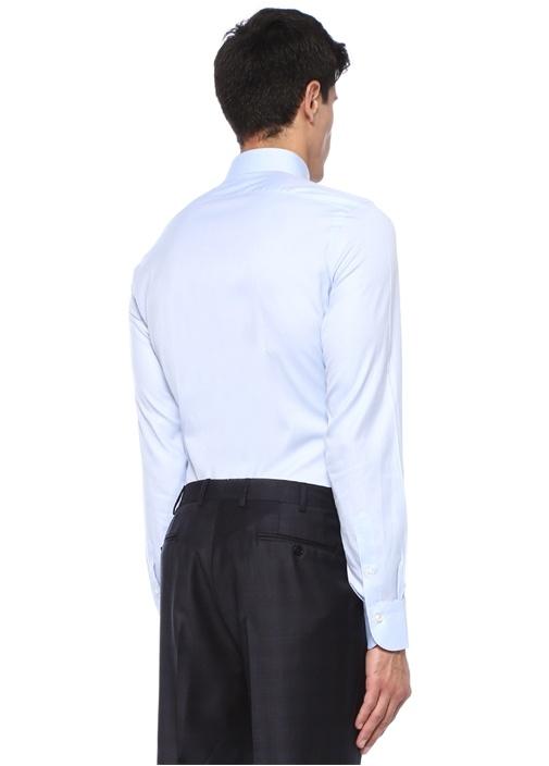 Mavi İngiliz Yaka Gömlek