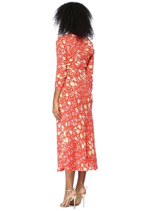 Katie Kırmızı Çiçekli V Yaka Düğmeli Midi Elbise