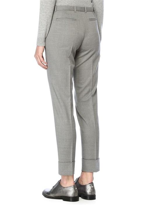 Gri Normal Bel Paçası Zincirli Yün Pantolon