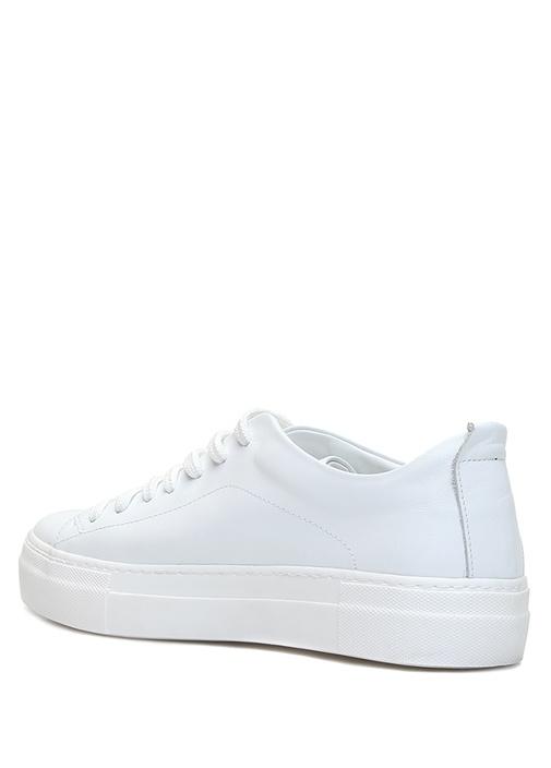 Beyaz Yuvarlak Burun Kadın Deri Sneaker