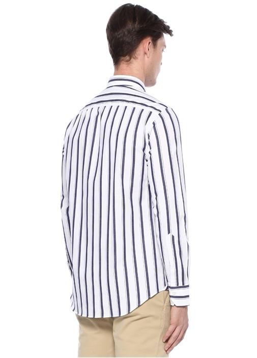 Lacivert Beyaz Çizgili Düğmeli Gömlek