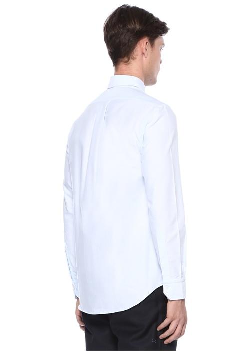 Mavi Düğmeli Cep Detaylı Gömlek