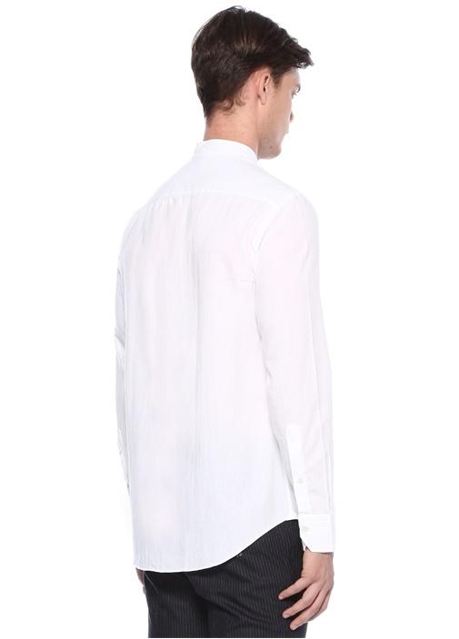 Beyaz Hakim Yaka Cepli Gömlek