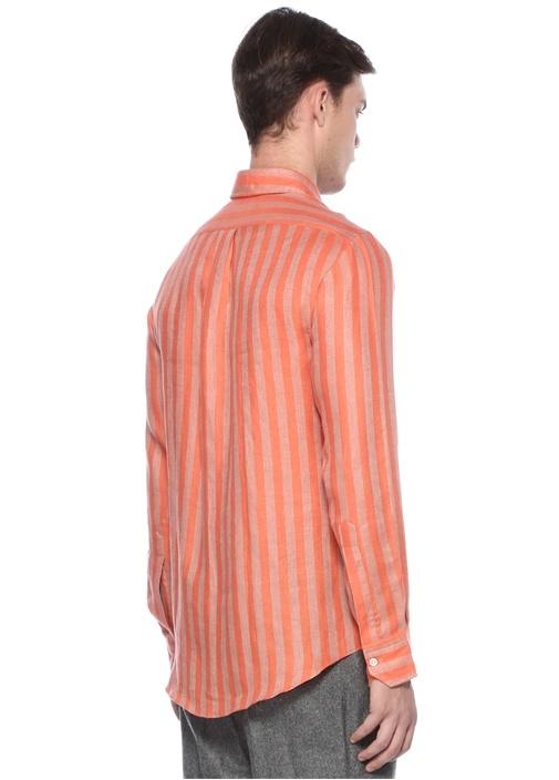 Turuncu Çizgili Keten Gömlek