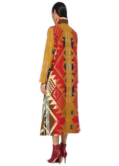 Jouney Geometrik Desenli Düğmeli Uzun Yün Palto