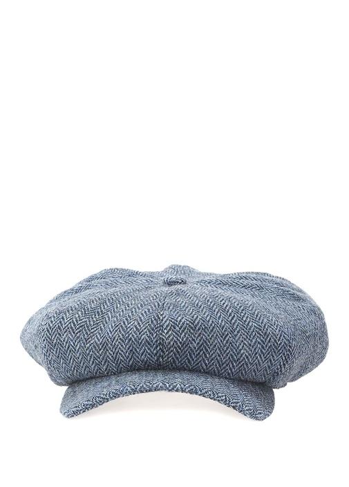 Dairmid Mavi Zikzak Desenli Erkek Yün Kasket Şapka