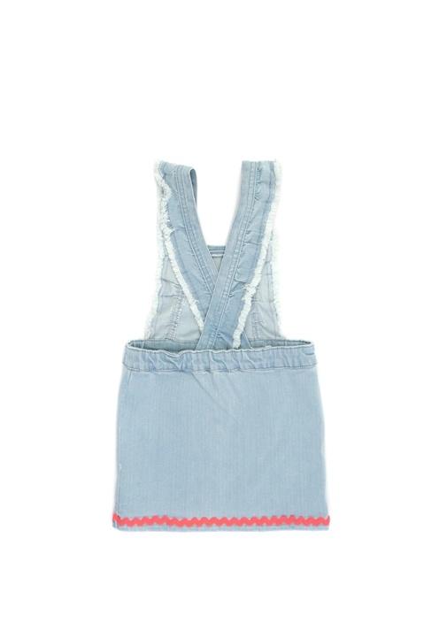 Mavi Yıpratmalı Kız Çocuk Salopet Elbise