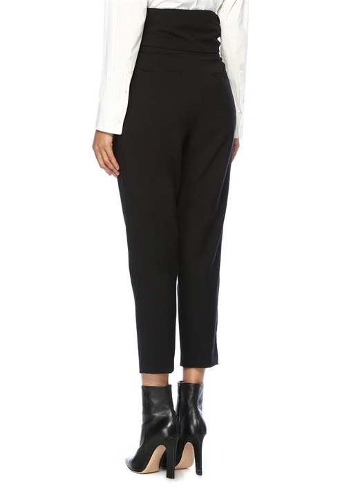 Siyah Yüksek Bel Kuşaklı Boru Paça Pantolon