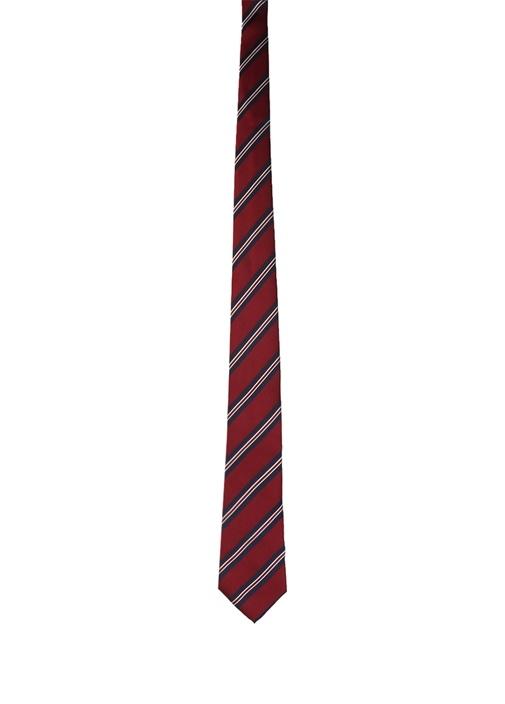 Bordo Lacivert Çizgili İpek Kravat