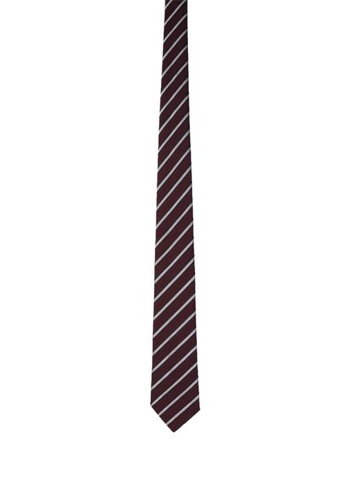 Bordo Lacivert Şeritli Erkek İpek Kravat