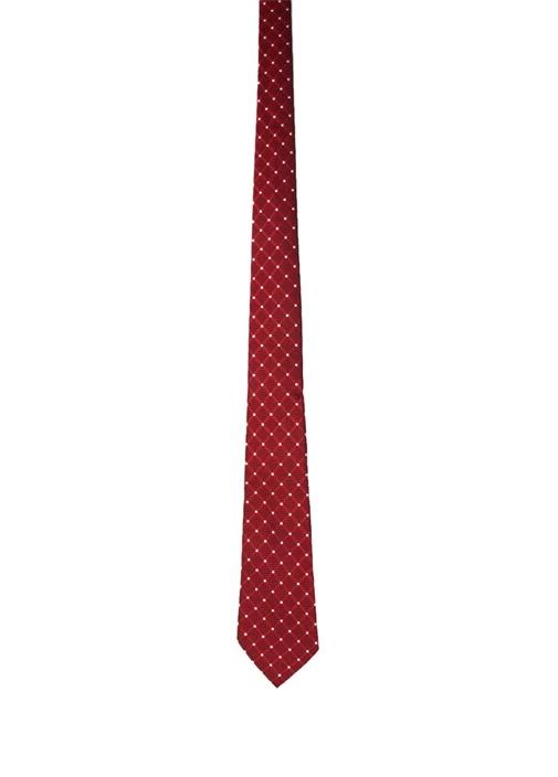 Kırmızı Puantiye Desenli İpek Kravat