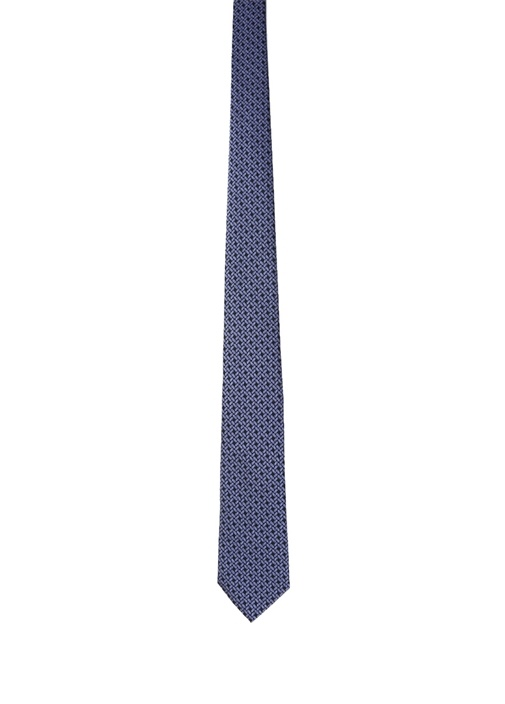 Mavi Geometrik Desenli İpek Kravat