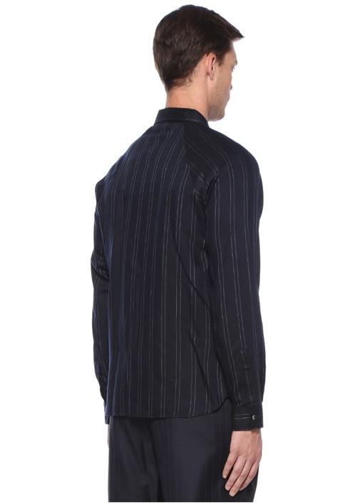 Lacivert İngiliz Yaka Çizgili Gömlek