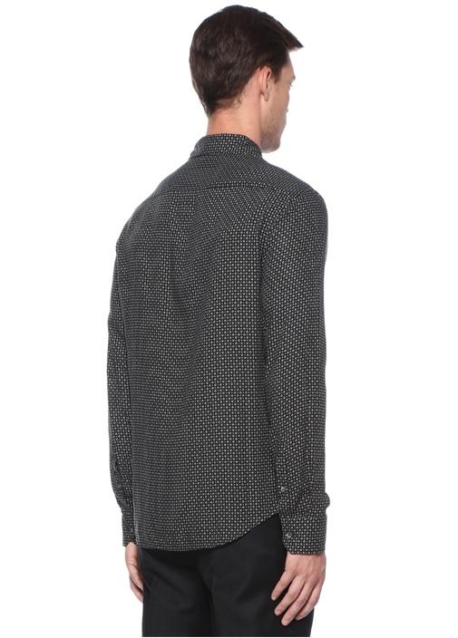 Siyah Mikro Desenli İngiliz Yaka Gömlek