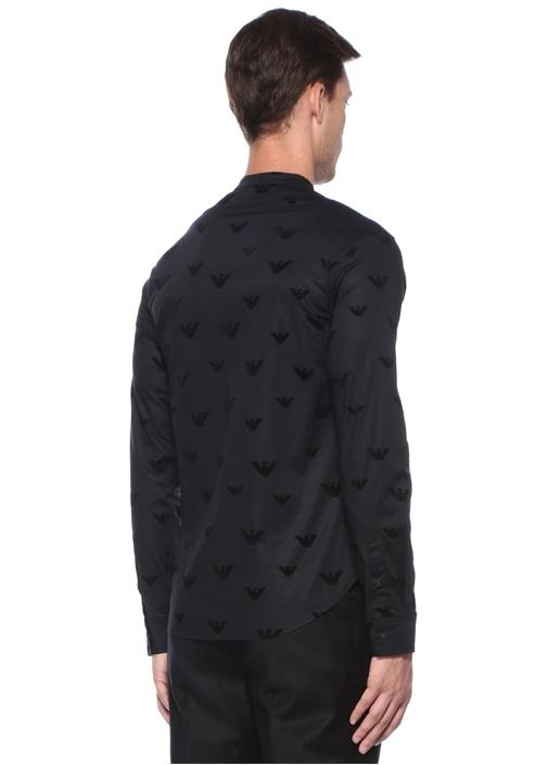 Siyah Mikro Logo Baskılı Dik Yaka Gömlek