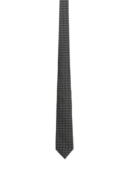 Siyah Beyaz Mikro Şal Desenli Erkek İpek Kravat