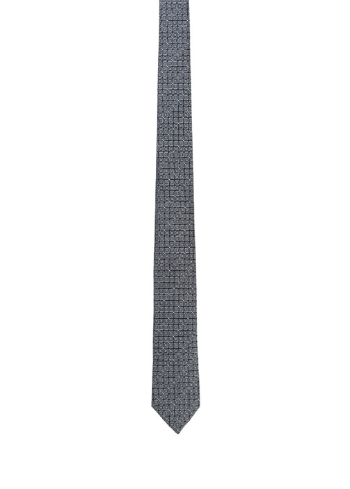 Lacivert Mikro Geometrik Desenli İpek Kravat