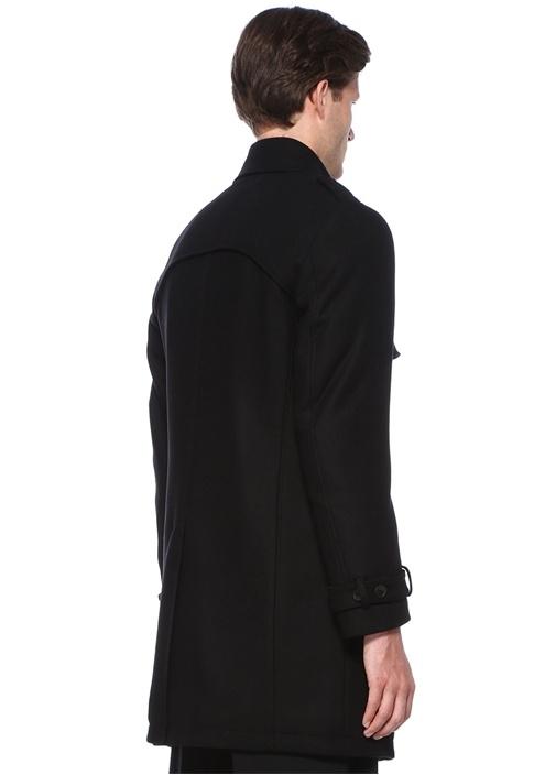 Siyah Dik Yaka Dokulu Yırtmaçlı Kaşmir Palto