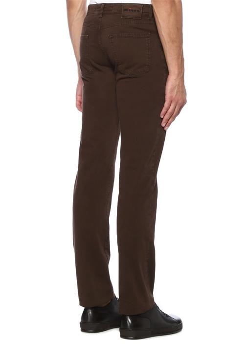Kahverengi Normal Bel Dar Paça Jean Pantolon