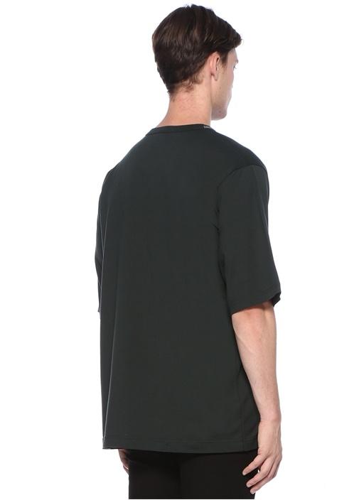 Yeşil V Yaka Baskılı T-shirt